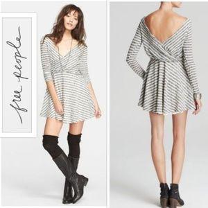 Free People Textured Dress Striped Grey Mini L